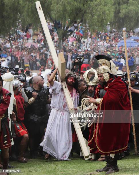 Actor Antonio Reyes recreates the crucifixion of Jesus Hundreds of thousands of believers participated in the traditional march along the Way of the...