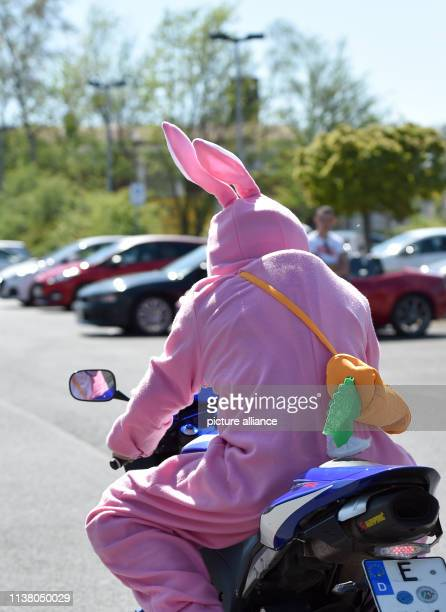 19 April 2019 North RhineWestphalia Bochum A man in a pink rabbit costume sits on a motorcycle It is the traditional season start for the car tuner...