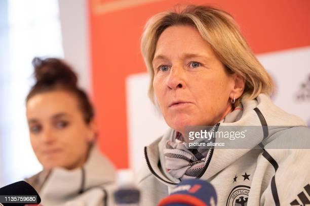 April 2019, North Rhine-Westphalia, Marienfeld: Football: Women, national team, press conference: Martina Voss-Tecklenburg , national coach, gives a...