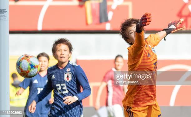 09 April 2019 North RhineWestphalia Paderborn Football women International matches Germany Japan in the Benteler Arena Japan's goalkeeper Chika Hirao...