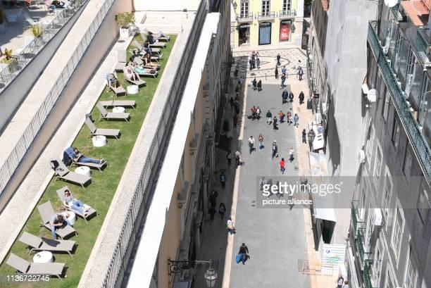 View from the Elevador de Santa Justa to a street in the district Baixa Photo Arne Dedert/dpa