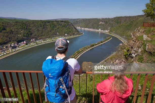 18 April 2019 RhinelandPalatinate StGoarshausen Tourists are standing on the Loreley rock after the opening of the landscape park The redesign began...
