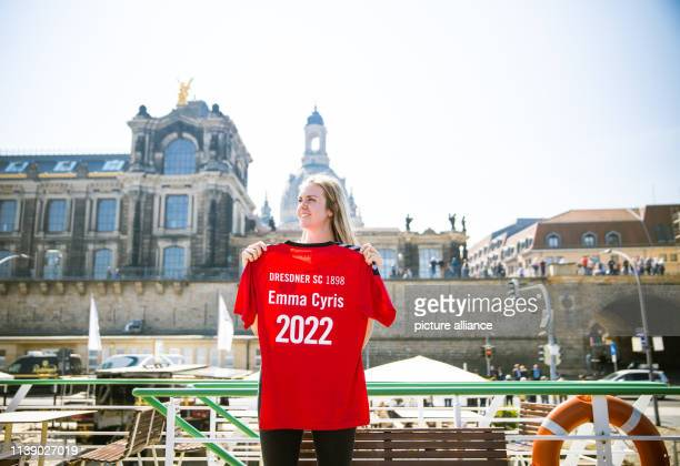 Emma Cyris new outside attacker of the volleyball Bundesliga team Dresdner SC poses with a jersey on the sidelines of a press conference Photo Oliver...