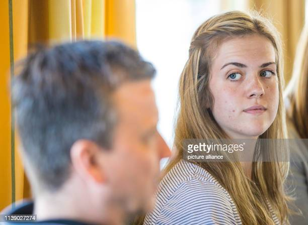 Emma Cyris new outside attacker of the volleyball Bundesliga team Dresdner SC sits at a press conference next to Alexander Waibl head coach Photo...