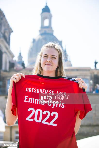 Emma Cyris the new external attacker of the volleyball Bundesliga team Dresdner SC poses with a jersey on the sidelines of a press conference Photo...