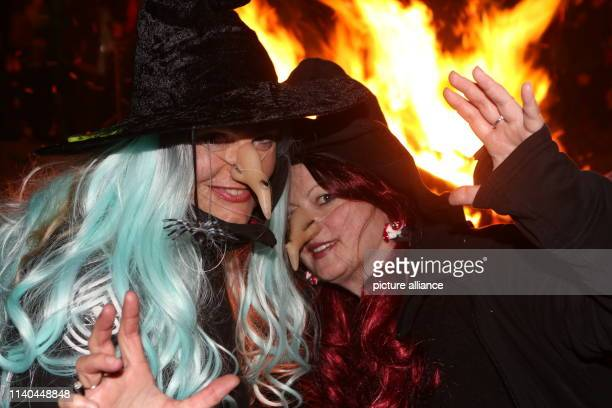 Women dressed as witches pose in front of the Walpurgis fire Tens of thousands of witches and devils have been killed around the highest mountain in...