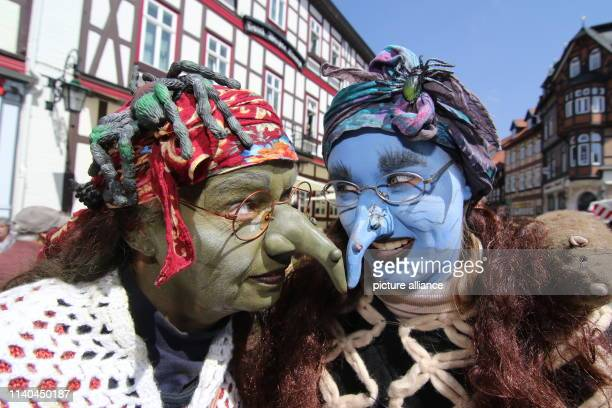 30 April 2019 SaxonyAnhalt Wernigerode Women dressed up as witches go on the Walpurgis festival through the town Tens of thousands celebrated the...