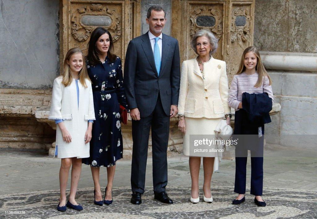 ESP: Spanish Royal Family Visits Easter Mass In Mallorca