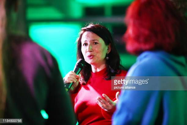 April 2019, Thuringia, Erfurt: Anja Siegesmund , top candidate for the state elections in Thuringia, speaks at the spring reception of the state...