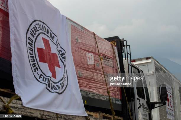 A truck with a power station is waiting to deliver its load to a Red Cross warehouse First relief supplies of the Red Cross have arrived in Venezuela...