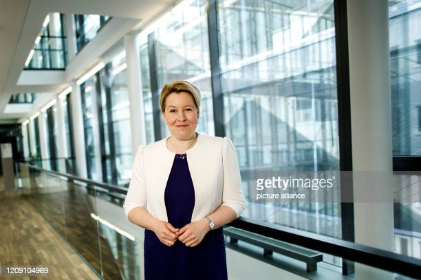April 2020, Berlin: Franziska Giffey , Federal Minister for Family Affairs, Senior Citizens, Women and Youth, poses for a photo at the Federal...