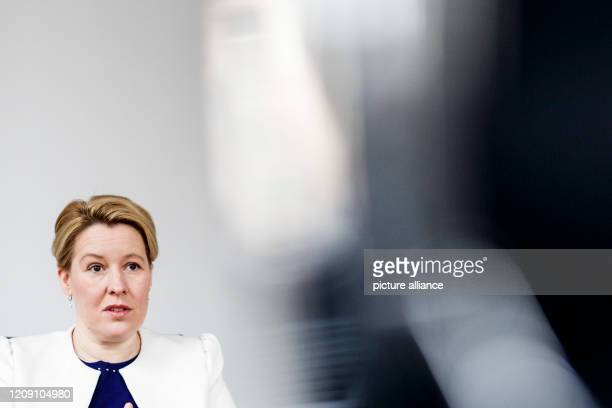 April 2020, Berlin: Franziska Giffey , Federal Minister for Family Affairs, Senior Citizens, Women and Youth, speaks in an interview with the German...