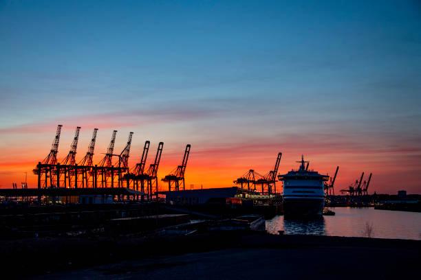 DEU: Sunset Over Hamburg Harbour