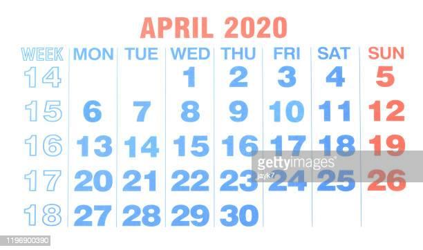 april 2020 month calendar - abril fotografías e imágenes de stock