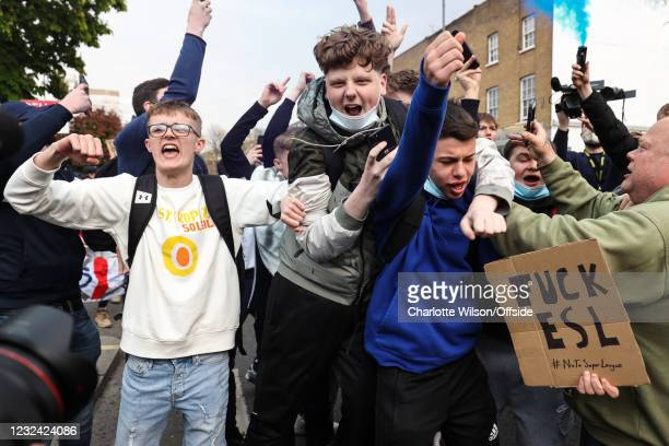 April 2021: Fans gather to protest the introduction of the European Super League on April 20, 2021 in London, United Kingdom. Six English Premier...