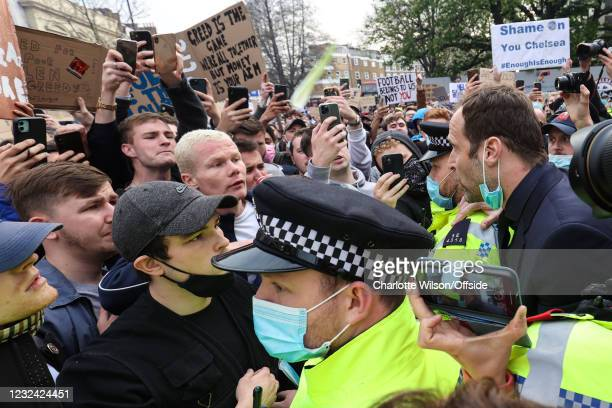 April 2021: Former Chelsea goalkeeper Petr Cech calls for calm as fans gather to protest the introduction of the European Super League on April 20,...