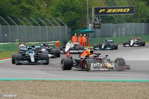April 2021, Italy, Imola: Motorsport: Formula One World Championship, Emilia-Romagna Grand Prix, Race. Max Verstappen from the Netherlands of Team...