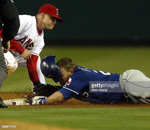 April 21 2004 Angel David Eckstein tags Brad Fullmer of Texas at second base in the 4th inning Fullmer tried to turn a single into a double but...