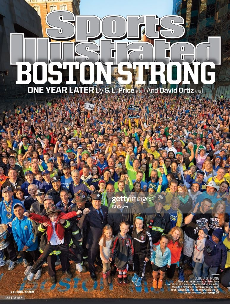 Portrait of citizens of Boston with Mayor Marty Walsh on the anniversary of the Boston Marathon Bombings during photo shoot at finish line on Boylston Street. Gregory Heisler TK1 )