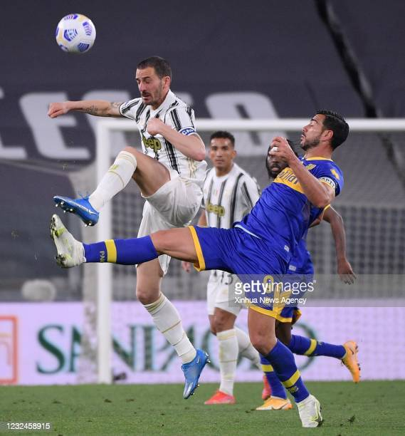 April 21, 2021 -- Juventus' Leonardo Bonucci L vies with Parma's Graziano Pelle during a serie A football match between FC Juventus and Parma in...