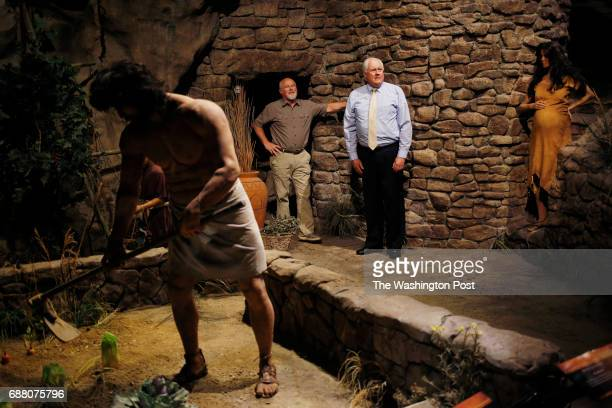 PETERSBURG KY April 21 Mike Zovath and Mark Looy two founders of the biblicalthemed Creation Museum stand for a portrait inside an exhibit...