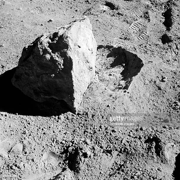 April 22, 1972 - A close-up view of a block (about 1/2 meter long) found by the two Moon-exploring crew members of the Apollo 16 lunar landing mission.