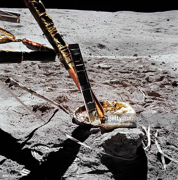 April 22, 1972 - A close-up view of the Apollo 16 Cosmic Ray Detector (CRD) experiment deployed at the +Y strut of the Lunar Module.