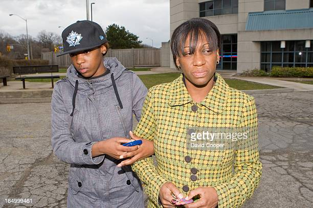 April 22 2009 The mother and girl friend of Toronto's 14th homicide victim of 2009 Stacey Mitchell and his mother Lisa Mitchell in leave Toronto...