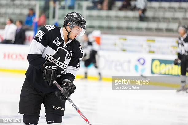 Aaron Hoyles of the Blainville-Boisbriand Armada during his warm up prior to the game 3 during the third round of the 2014 QMJHL playoffs at the...