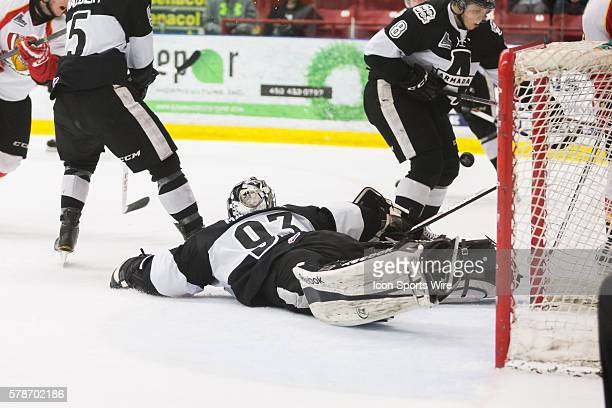 Etienne Marcoux of the Blainville-Boisbriand Armada makes a huge save in game 3 during the third round of the 2014 QMJHL playoffs at the Centre...