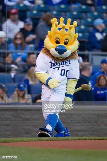 Kansas City Royals mascot Slugger during the MLB American League game between the Minnesota Twins and the Kansas City Royals at Kauffman Stadium in...