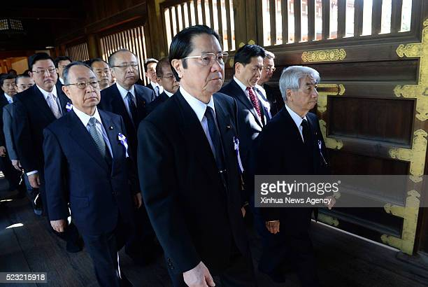 TOKYO April 22 2016 Japanese lawmakers visit Yasukuni Shrine in Tokyo capital of Japan on April 22 2016 A group of around 90 Japanese lawmakers...