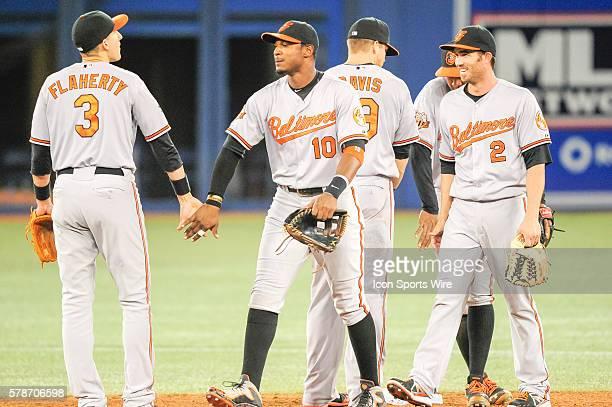 Baltimore Orioles infielder Ryan Flaherty and Baltimore Orioles outfielder Adam Jones celebrate their win. The Baltimore Orioles defeated the Toronto...