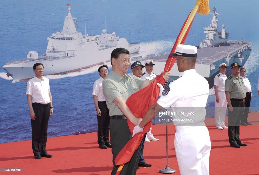 CHINA-HAINAN-SANYA-XI JINPING-COMMISSIONING CEREMONY-NAVAL VESSELS (CN) : News Photo