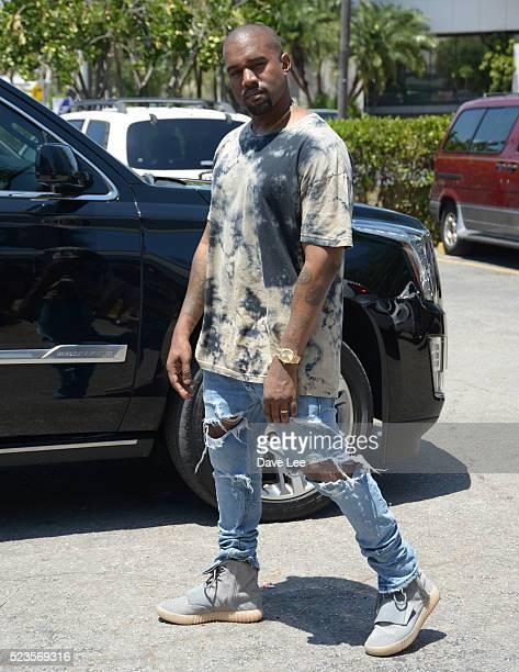 MIAMI FL April 23 Kim Kardashian Kanye West is sighted on April 23 2016 in Miami Beach Florida