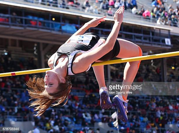 Megan McCloskey of Germantown Academy competes in the High School Girls High Jump competition during the Penn Relays at Franklin Field on the campus...