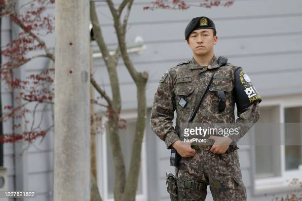 April 24, 2018-Paju, South Korea-South Korean Military stand guard their check area at Deaesung Dong Freedm village in DMZ, South Korea. Inter Korean...
