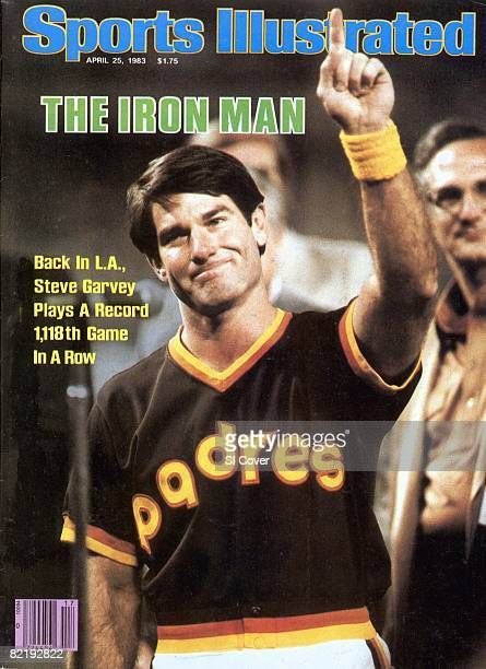 Baseball Closeup of San Diego Padres Steve Garvey victorious gesturing number 1 after breaking Billy Willams 1118 NL record before game vs Los...