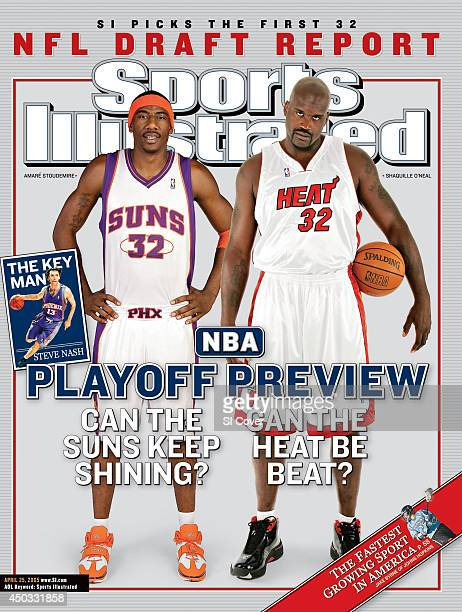 April 25 2005 Sports Illustrated via Getty Images Cover NBA Playoffs Preview Portrait of Miami Heat Shaquille O'Neal and Phoenix Suns Amare...
