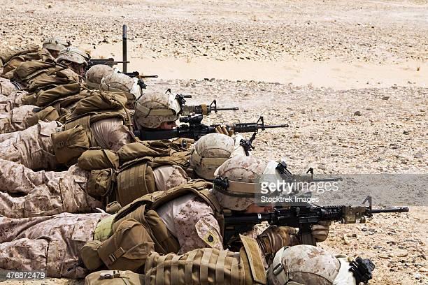 April 25, 2013 - U.S. Marines conduct a battlesight zero their rifles in Al Galail, Qatar.