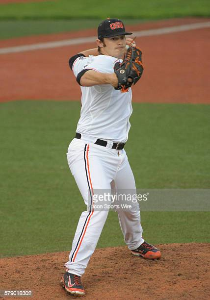 April 25, 2014 - Oregon State Beavers pitcher Ben Wetzler attempts to pick off a runner at first base during a PAC-12 Conference baseball game...