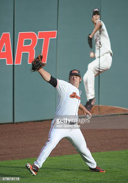 April 25, 2014 - Oregon State Beavers starting pitcher Ben Wetzler warms up prior to the start of the game during a PAC-12 Conference baseball game...