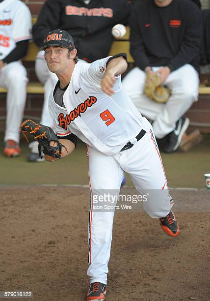 April 25, 2014 - Oregon State Beavers starting pitcher Ben Wetzler warms up in the bull pen prior to the start of the game during a PAC-12 Conference...