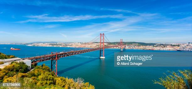 April 25th Bridge and Tagus River in Lisbon Portugal