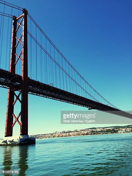 April 25Th Bridge Over Tagus River Against Clear Blue Sky