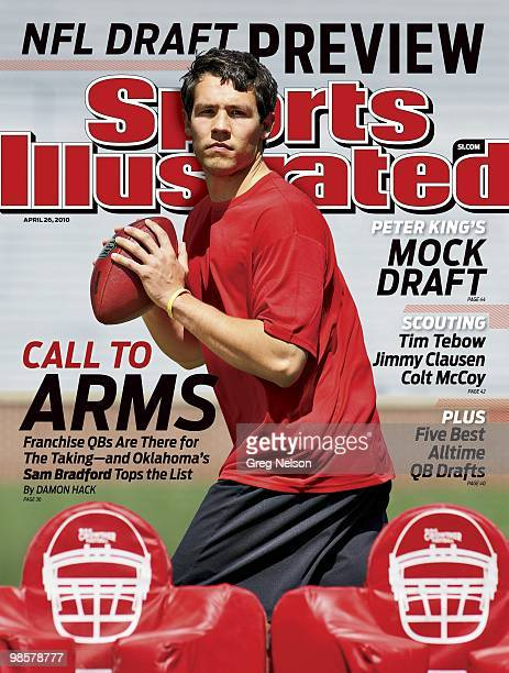 Football NFL Draft Preview NFL prospect and former University of Oklahoma QB Sam Bradford during individual workout at Gaylord Family Oklahoma...