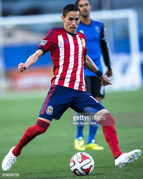 Chivas USA midfielder Leandro Barrera prepares to pass during the game between the San Jose Earthquakes and Chivas USA at Buck Shaw Stadium in Santa...