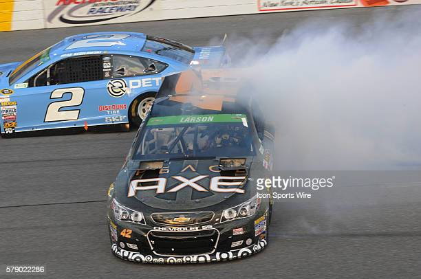 Kyle Larson Earnhardt Ganassi Racing Target/AXE PEACE Chevrolet SS spins on the first lap during the Sprint Cup Series Toyota Owners 400 Joey Logano...