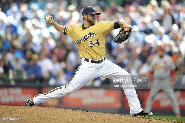 Milwaukee Brewers Pitcher Michael Blazek [10236] pitches during a game between the St Louis Cardinals and Milwaukee Brewers at Miller Park in...
