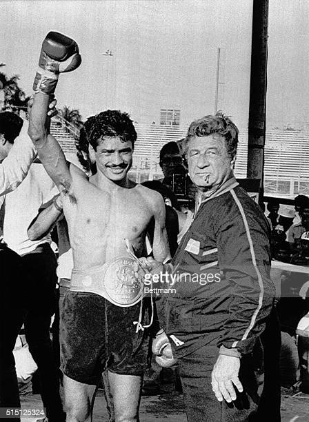 April 27 1980San Juan Puerto Rico WBC Junior Lightweight Champion Alexis Arguello of Nicaragua still is the owner of the title in his fight with...